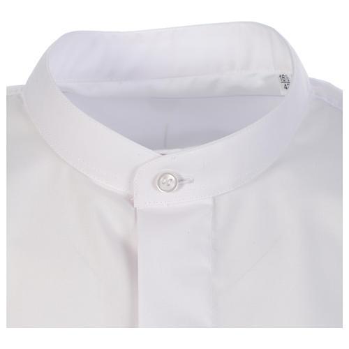 Camisa clergy batina colarinho coberto manga longa 3