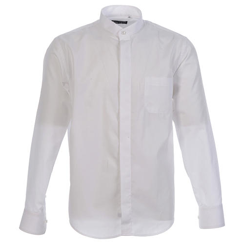 Collarhemd geeignet um unter dem Talar getragen zu werden mit offenen Kragen Langarm 1