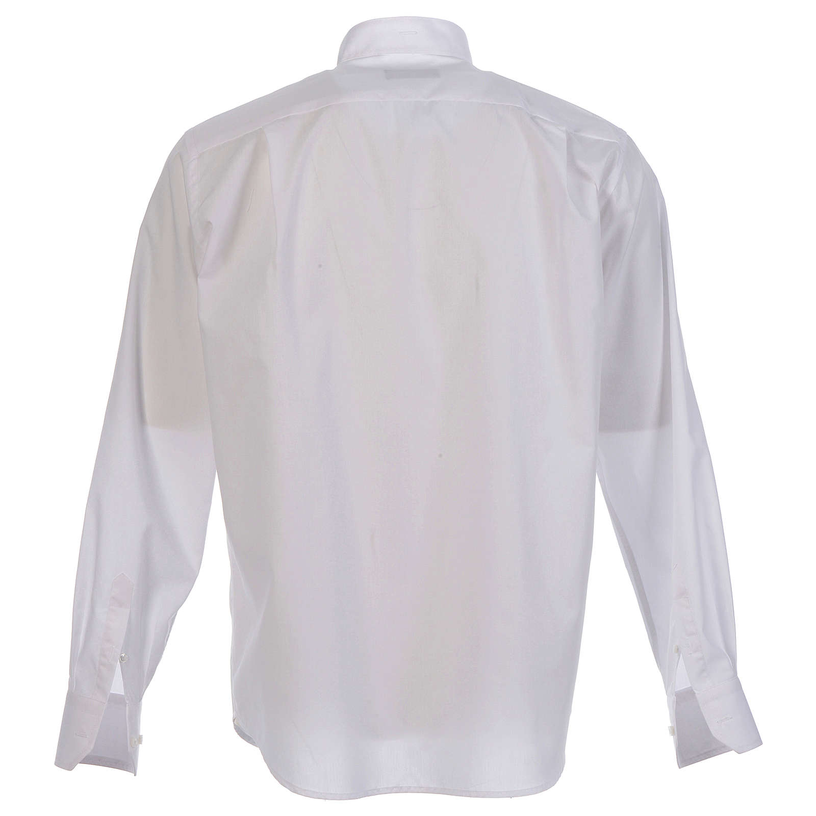 Camisa clergy sacerdote hábito talar cuello abierto manga larga 4