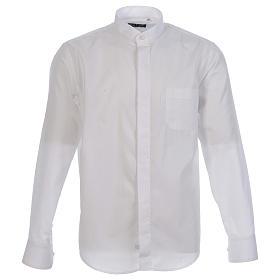 Camisa clergy sacerdote hábito talar cuello abierto manga larga s1