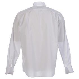 Camisa clergy sacerdote hábito talar cuello abierto manga larga s2