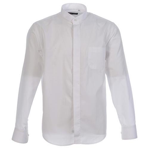 Camisa clergy sacerdote hábito talar cuello abierto manga larga 1