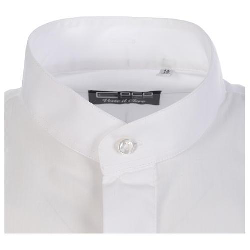 Camisa clergy sacerdote hábito talar cuello abierto manga larga 3