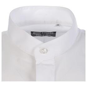 Camisa clergy batina colarinho aberto manga longa s3