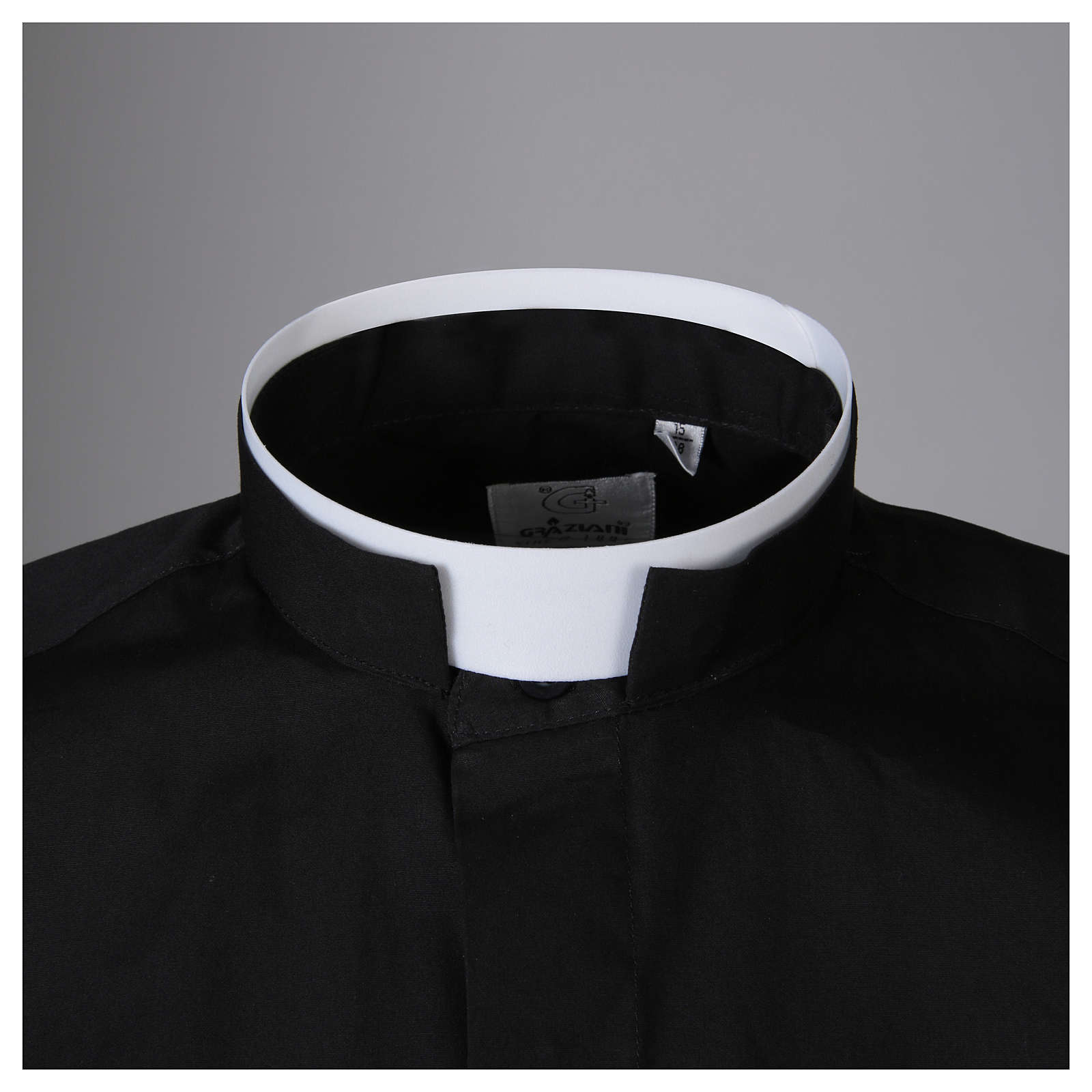 Clergy shirt, roman collar, long sleeves, mixed cotton black 4