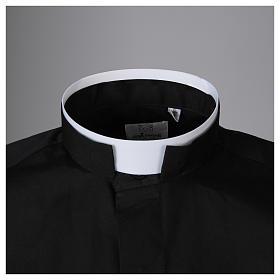Camisa sacerdote cuello romano mixto algodón manga larga negro s3