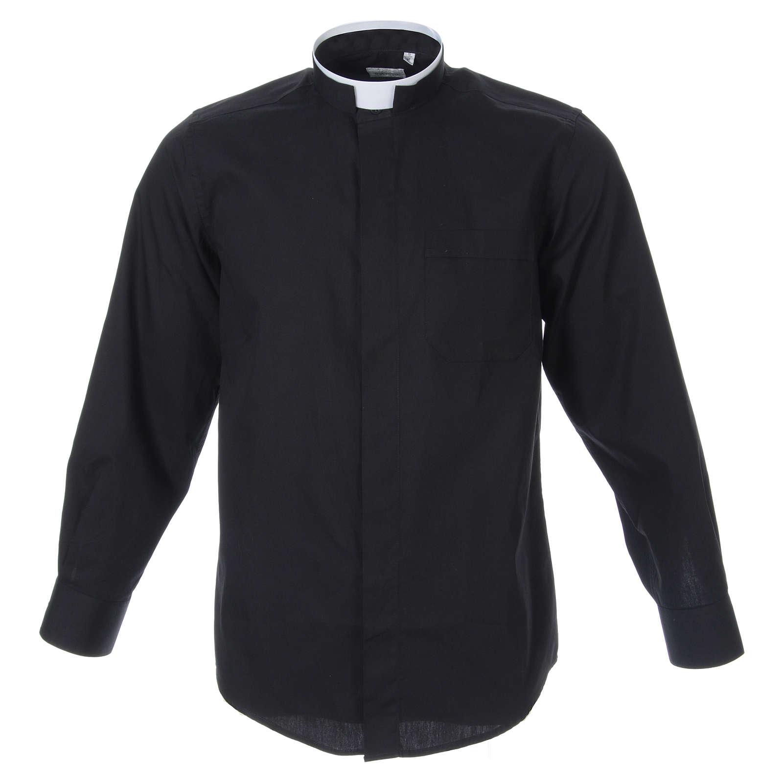 Camicia misto cotone collo romano manica lunga nero 4
