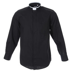 Camicia misto cotone collo romano manica lunga nero s1