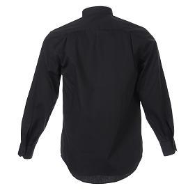 Camicia misto cotone collo romano manica lunga nero s2