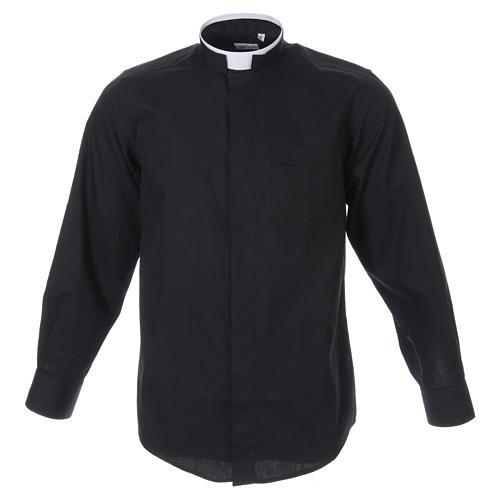Camicia misto cotone collo romano manica lunga nero 1