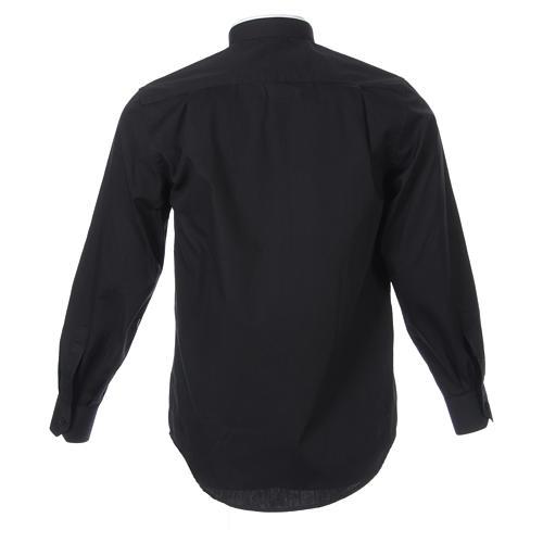 Camicia misto cotone collo romano manica lunga nero 2