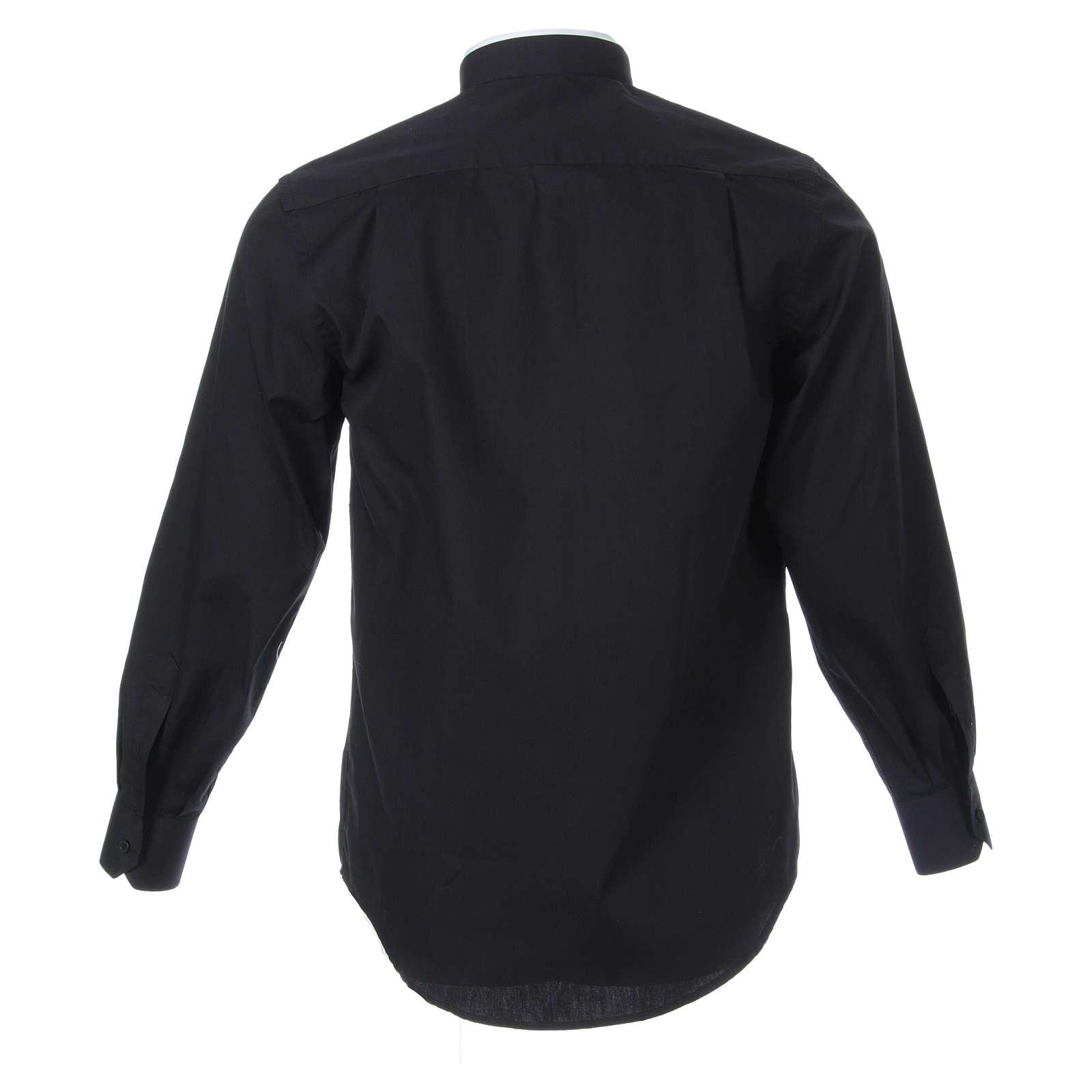 Camisa misto algodão colarinho romano manga longa preto 4