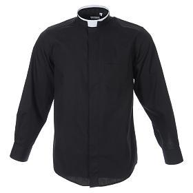 Camisas de Sacerdote: Camisa misto algodão colarinho romano manga longa preto