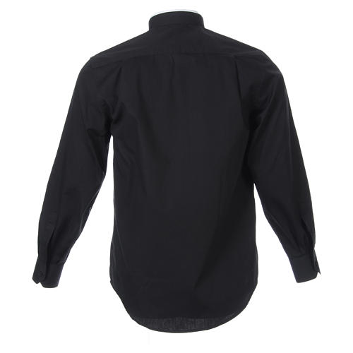 Camisa misto algodão colarinho romano manga longa preto 2