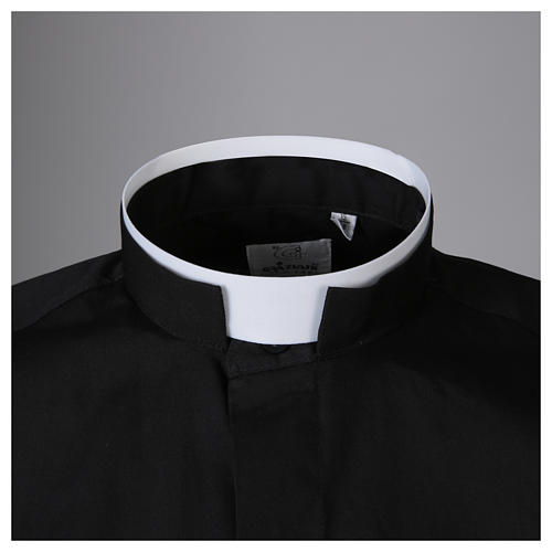 Camisa misto algodão colarinho romano manga longa preto 3