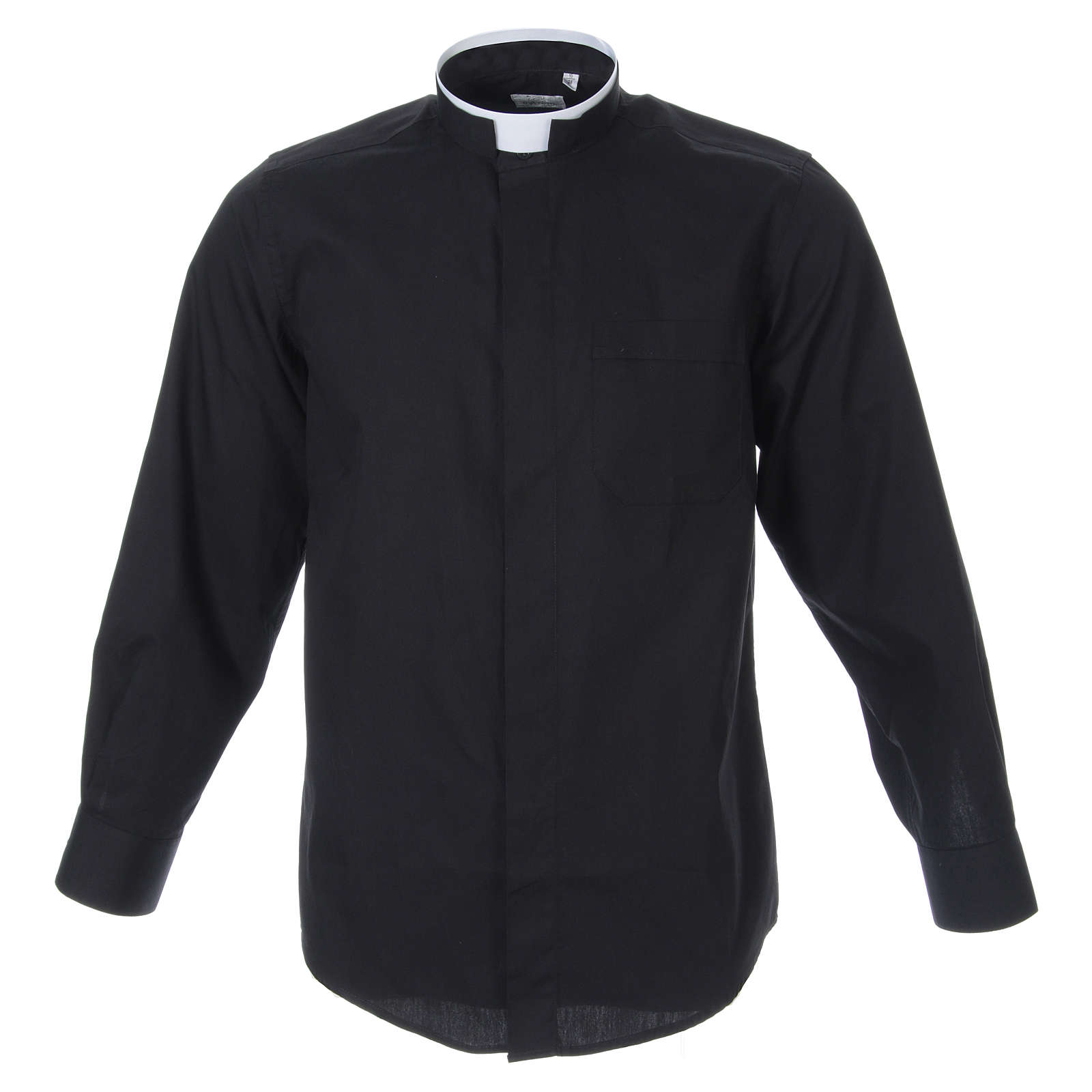 Clergyman Shirt with roman collar, black long sleeves, mixed cotton 4