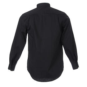 Clergyman Shirt with roman collar, black long sleeves, mixed cotton s2