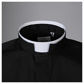 Clergyman Shirt with roman collar, black long sleeves, mixed cotton s3