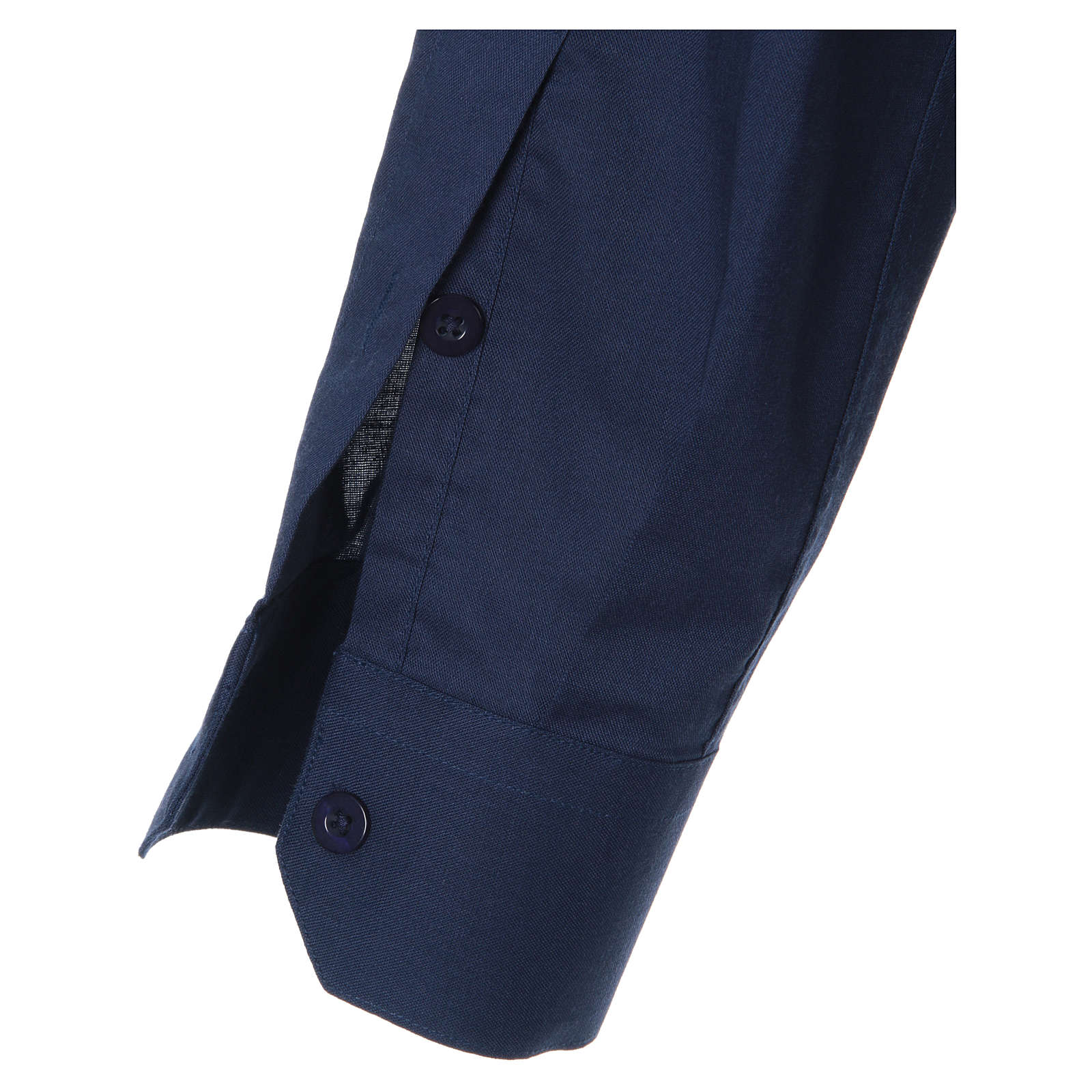 STOCK Chemise clergyman manches longues mixte bleu 4