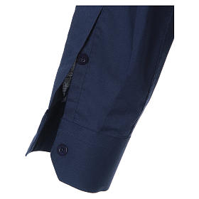 STOCK Camicia clergyman manica lunga misto blu s3