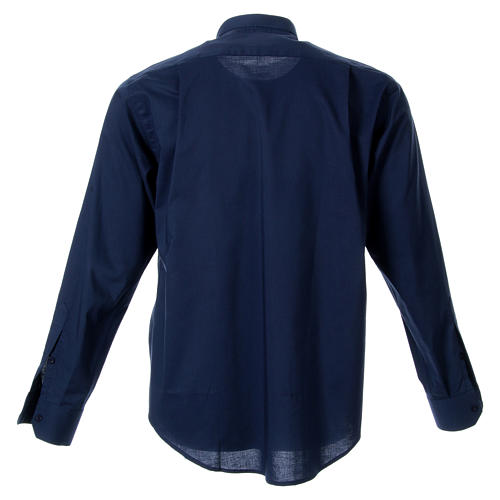 STOCK Camicia clergyman manica lunga misto blu 2