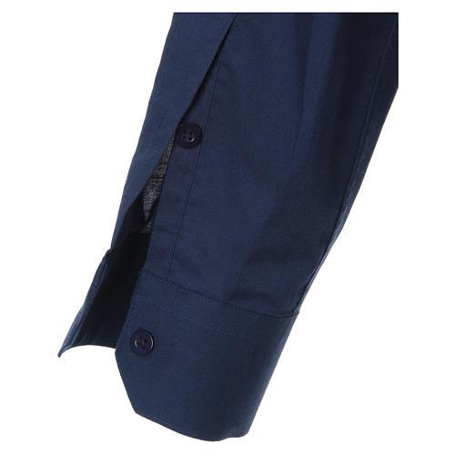 STOCK Camicia clergyman manica lunga misto blu 3