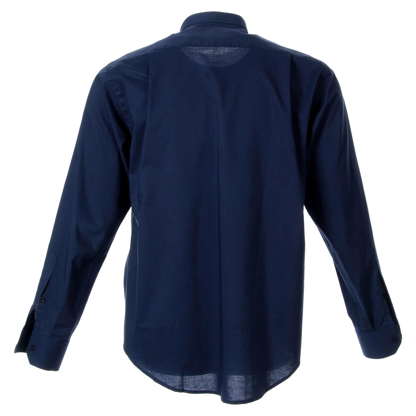 STOCK Camisa de Sacerdote Manga Comprida Misto Azul 4