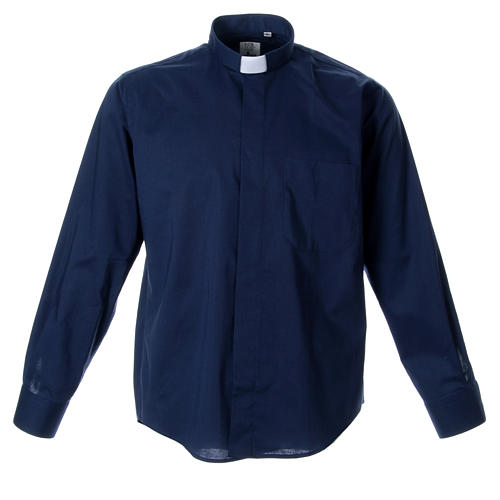 STOCK clergyman shirt with long sleeves in blend material blue 1