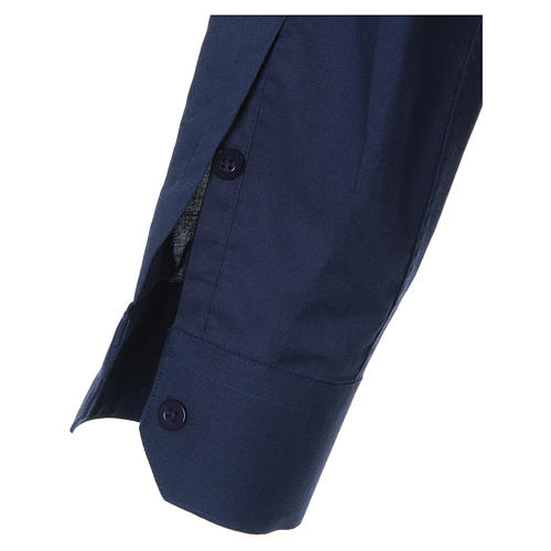 STOCK clergyman shirt with long sleeves in blend material blue 3