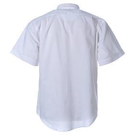 STOCK Chemise clergyman manches courtes mixte blanche s2