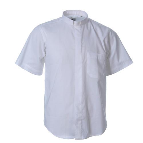 STOCK Chemise clergyman manches courtes mixte blanche 1