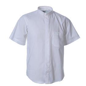 STOCK Camicia clergyman manica corta misto bianca s1