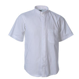 STOCK clergyman shirt with short sleeves in mixed material white s1