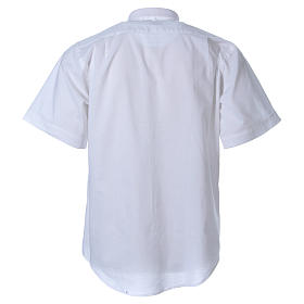 STOCK clergyman shirt with short sleeves in mixed material white s2
