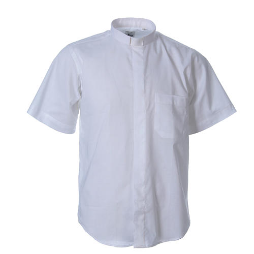 STOCK clergyman shirt with short sleeves in mixed material white 1