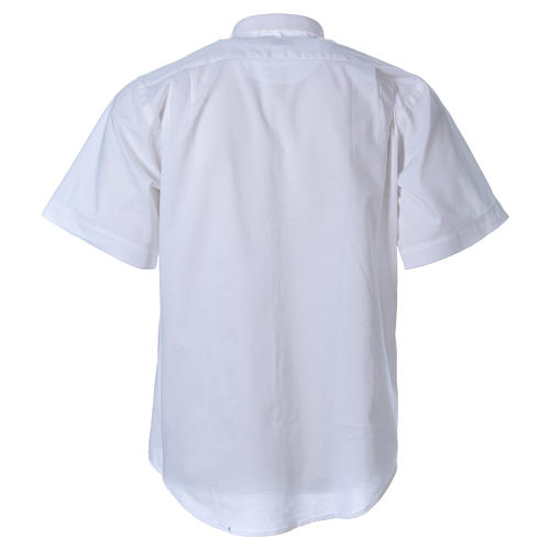 STOCK clergyman shirt with short sleeves in mixed material white 2