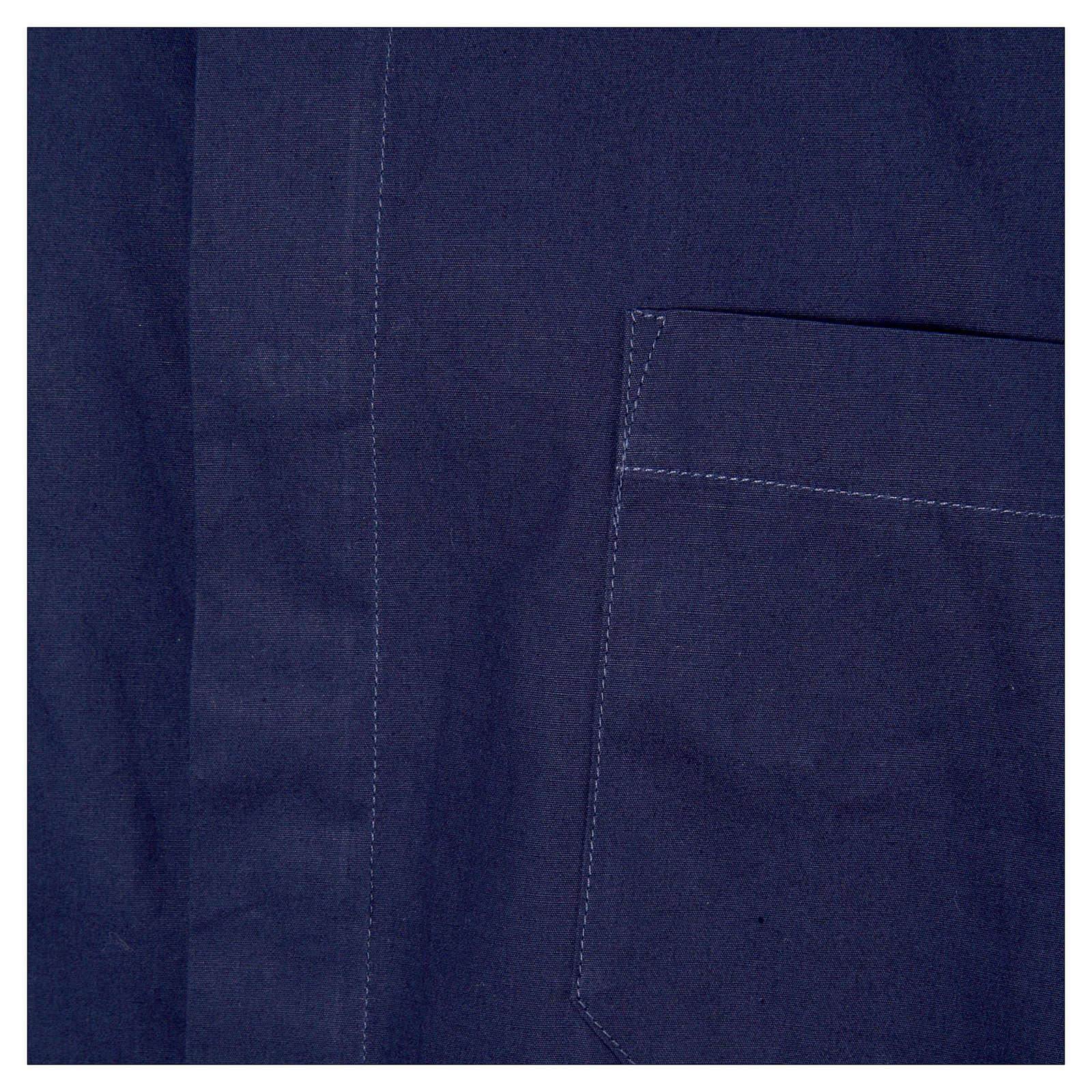 STOCK Camisa clergyman manga corta popelina azul 4