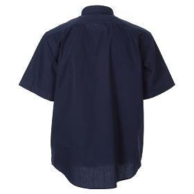 STOCK Chemise clergyman manches courtes popeline bleu s2