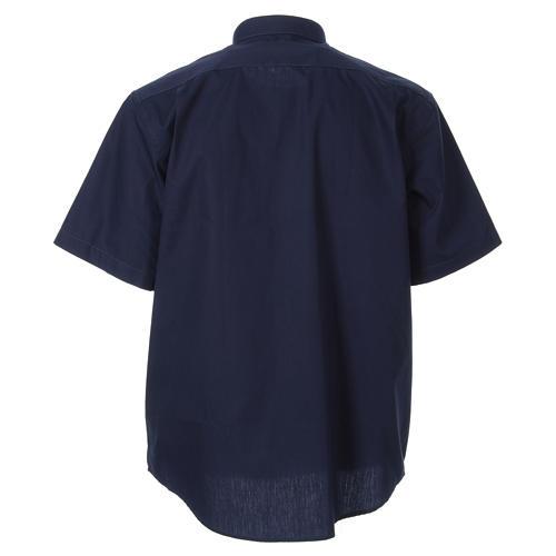 STOCK Chemise clergyman manches courtes popeline bleu 2
