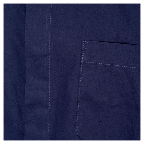 STOCK Chemise clergyman manches courtes popeline bleu 3