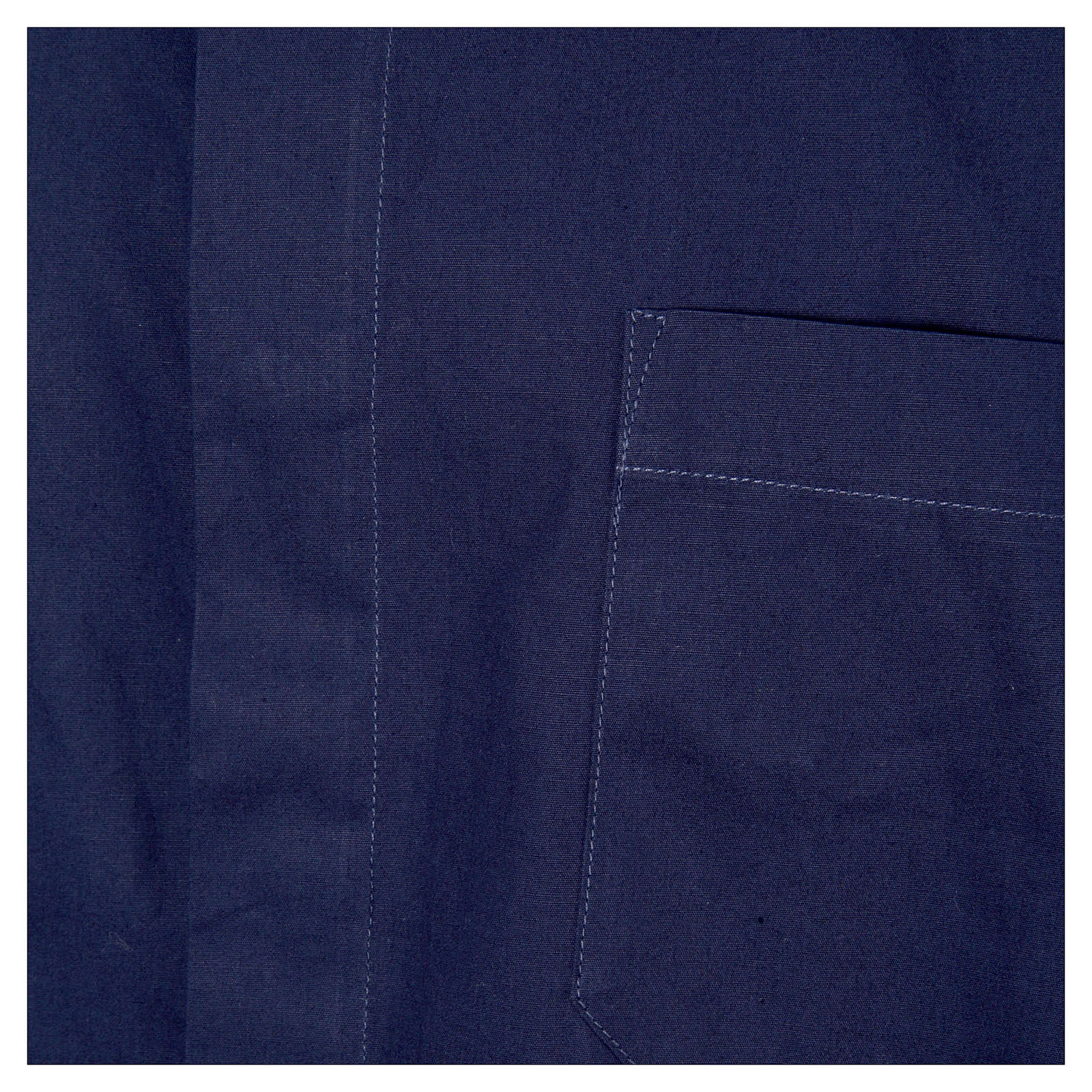 STOCK Camicia clergyman manica corta popeline blu 4