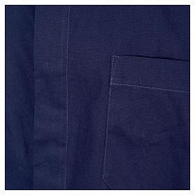 STOCK Camicia clergyman manica corta popeline blu s3
