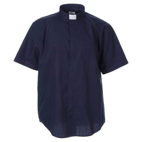 STOCK Camicia clergyman manica corta popeline blu 1