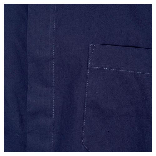 STOCK Camicia clergyman manica corta popeline blu 3