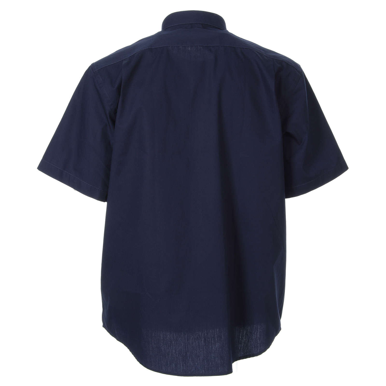 STOCK clergyman shirt with short sleeves in blue poplin 4
