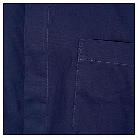 STOCK clergyman shirt with short sleeves in blue poplin s3