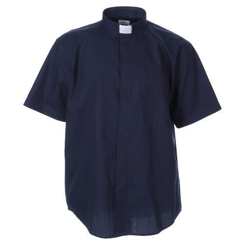 STOCK clergyman shirt with short sleeves in blue poplin 1