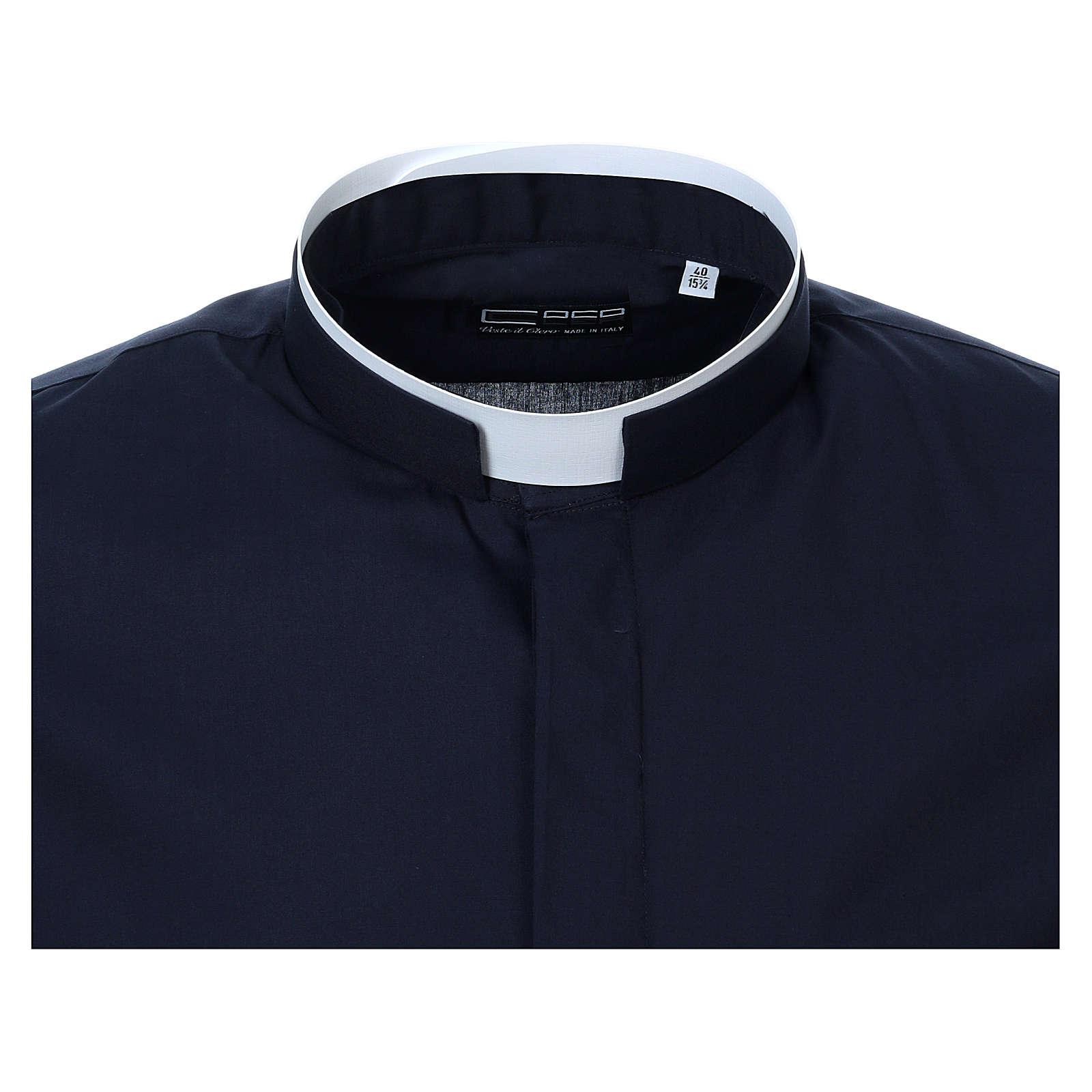 Collarhemd mit römischen Kragen, Langarm, Farbe blau 4