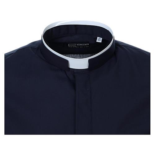 Collarhemd mit römischen Kragen, Langarm, Farbe blau 5