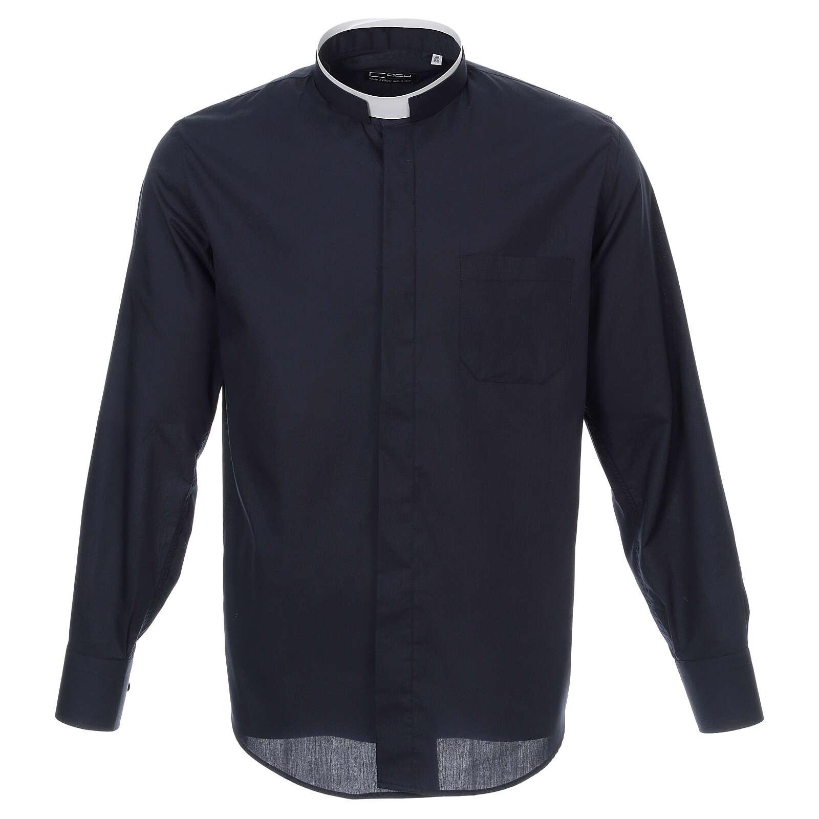 Camisa cuello romano Azul de un solo color M. Larga 4